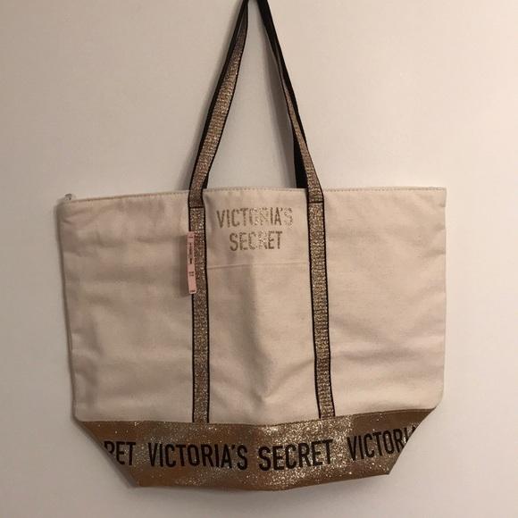Victoria's Secret Handbags - Victoria's Secret large canvas tote bag NWT $58